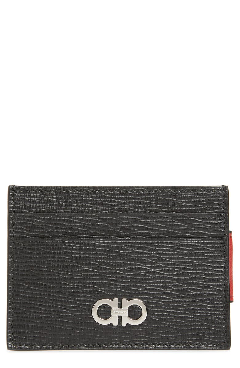 SALVATORE FERRAGAMO Revival Leather Magnetic Money Clip Card Case, Main, color, NERO