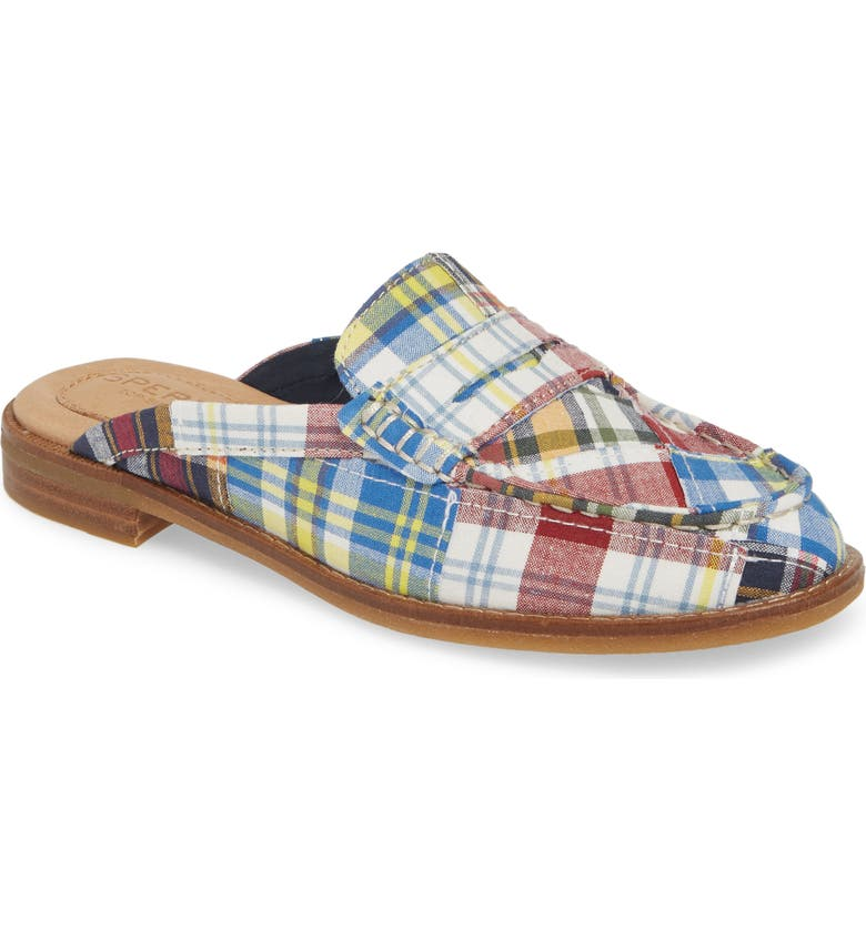 SPERRY Seaport Fina Madras Loafer Mule, Main, color, NAVY FABRIC