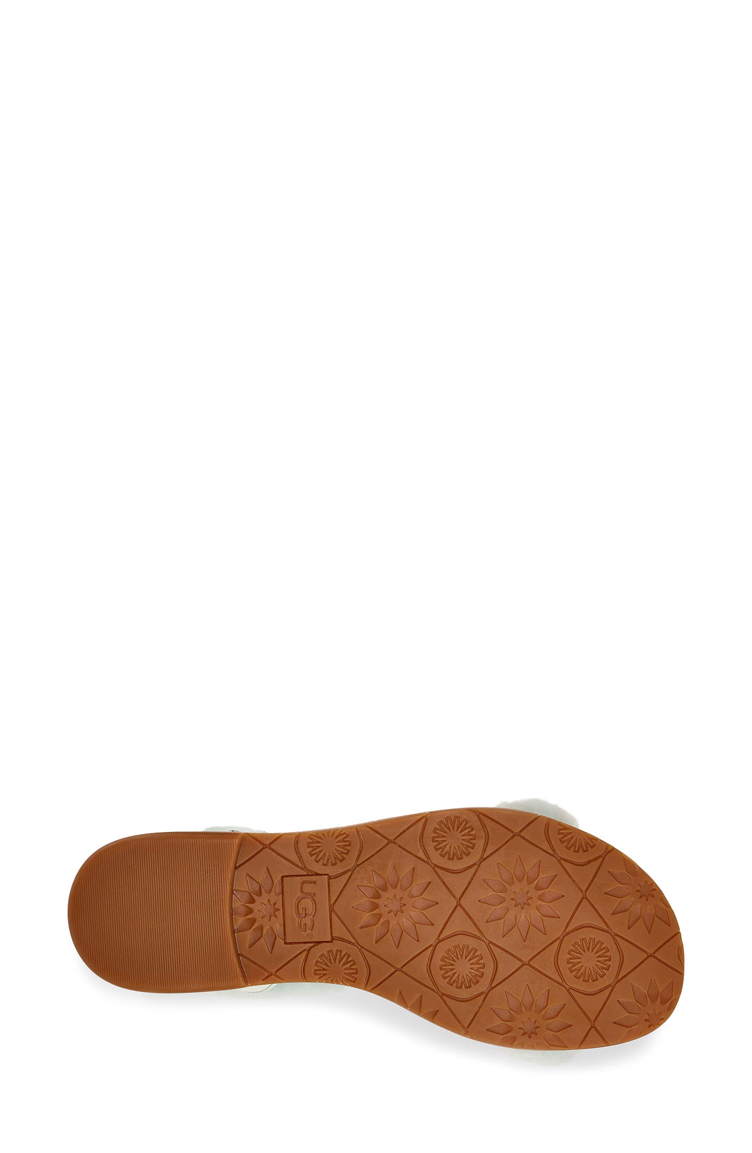 ,                             Fluff Springs Genuine Shearling Sandal,                             Alternate thumbnail 5, color,                             AGAVE GLOW