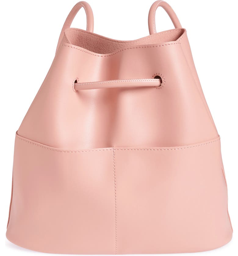 BP. Faux Leather Drawstring Backpack, Main, color, PINK ROSECLOUD METALLIC
