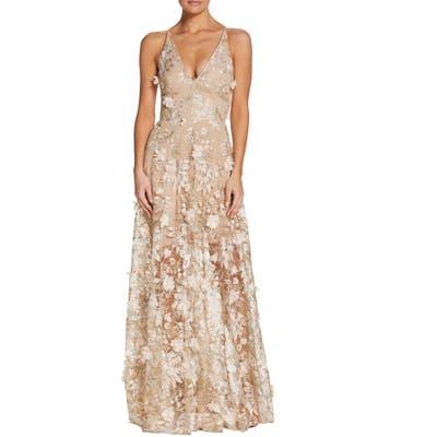 Dress The Population Sidney Deep V-Neck 3D Lace Gown, Pink
