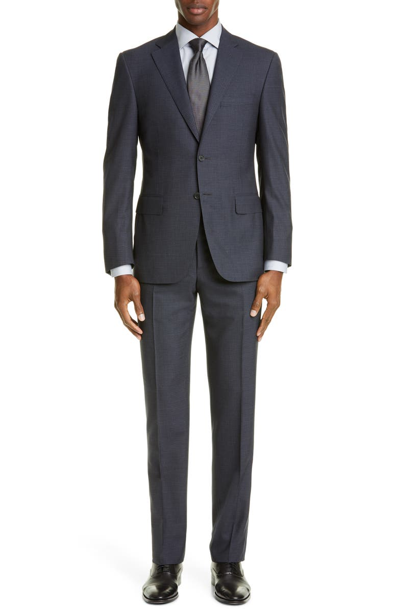 CANALI Sienna Soft Classic Fit Check Wool Suit, Main, color, CHARCOAL