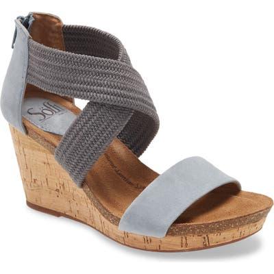 Sofft Chalette Cork Wedge Sandal, Blue