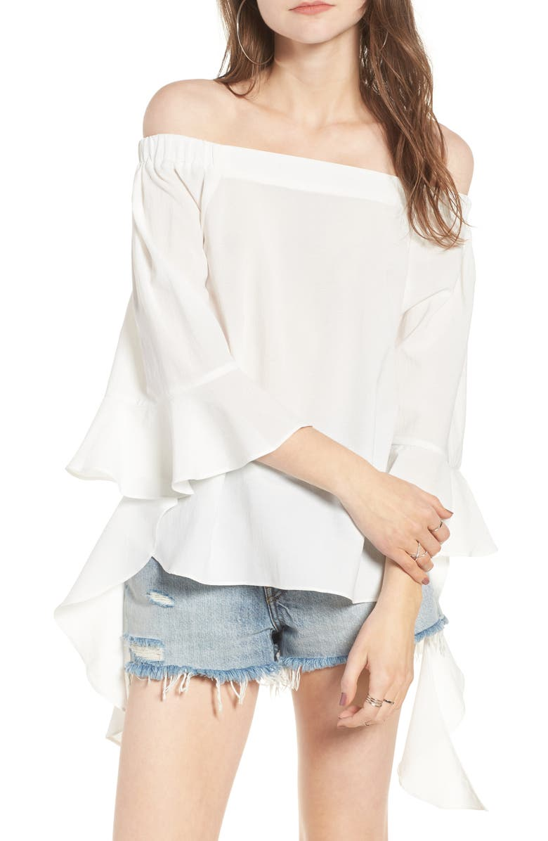 J.O.A. Flare Sleeve Off the Shoulder Blouse, Main, color, 100