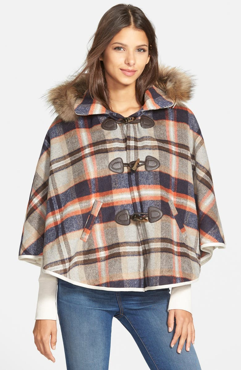 PAPER CRANE Plaid Hooded Cape with Faux Fur Trim, Main, color, 200
