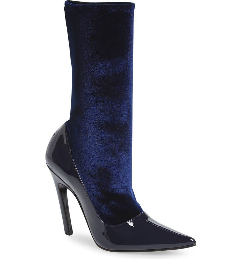 BALENCIAGA Velour Stretch Bootie, Main, color, BLUE PATENT