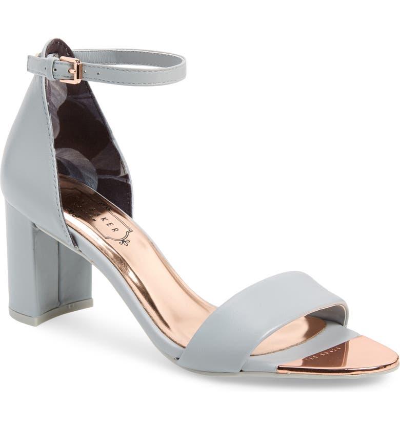 TED BAKER LONDON Shea Ankle Strap Sandal, Main, color, LIGHT GREY LEATHER