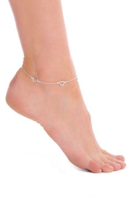 Image of Candela Sterling Silver Triple Heart Ankle Bracelet
