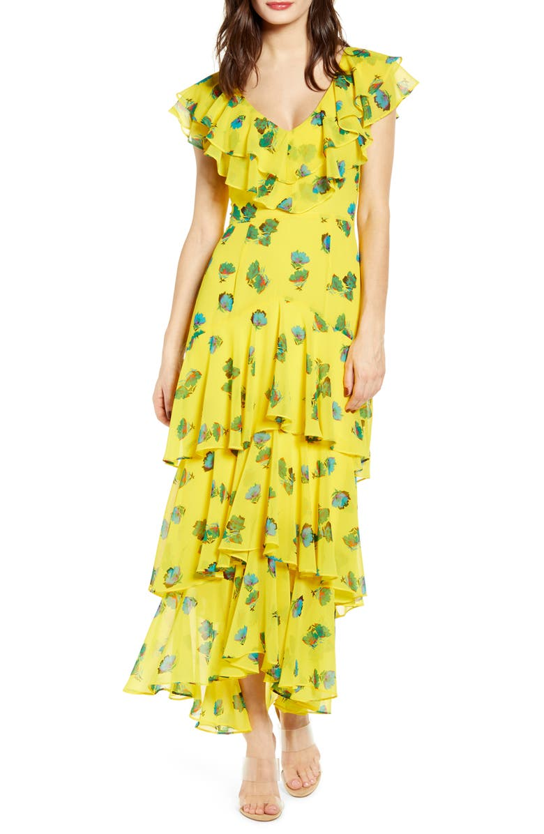 WAYF Chelsea Tiered Ruffle Maxi Dress, Main, color, YELLOW PETAL