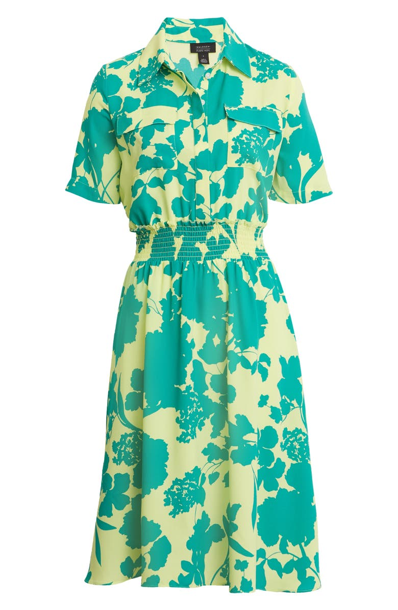 HALOGEN<SUP>®</SUP> x Atlantic-Pacific Floral Smocked Utility Dress, Main, color, GREEN FLORAL