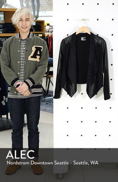 'Ana' Faux Leather Drape Front Jacket, sales video thumbnail