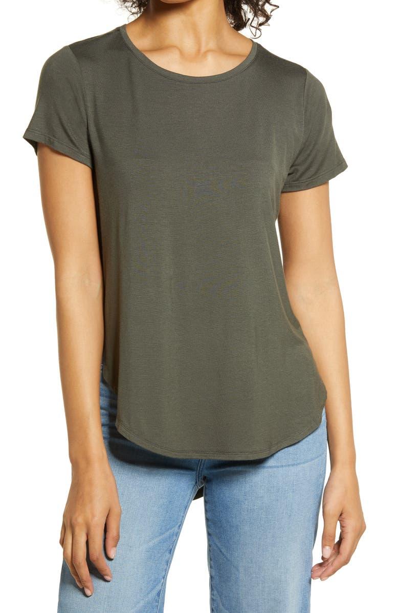 HALOGEN ? Shirttail Hem T-Shirt, Main, color, GREY BELUGA