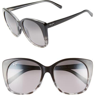 Maui Jim Mele 55Mm Polarizedplus2 Round Cat Eye Sunglasses - Black Grey Tort/neutral Grey
