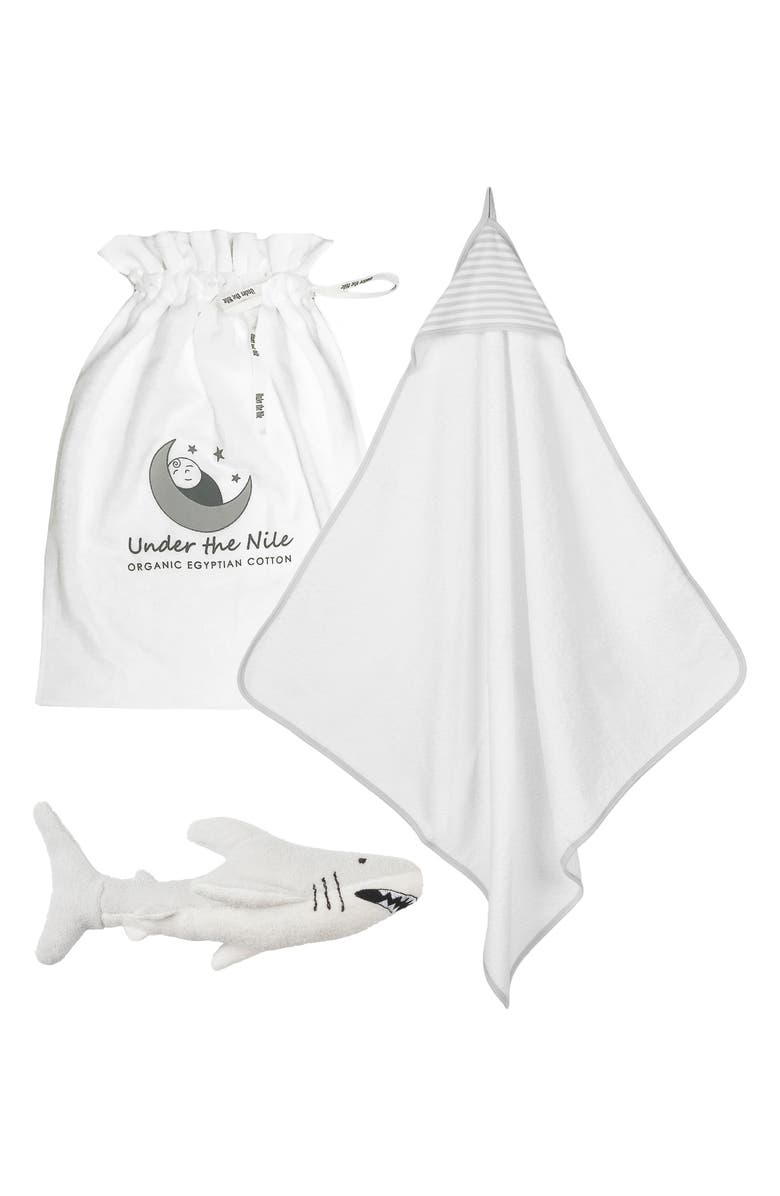 UNDER THE NILE Organic Cotton Hooded Towel & Stuffed Toy Set, Main, color, GREY