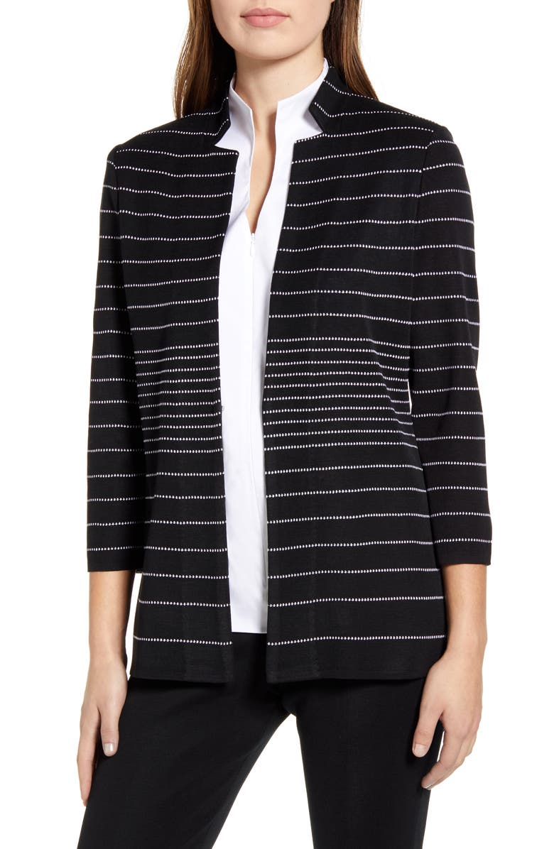 MING WANG Stripe Inverted Notch Collar Jacket, Main, color, BLACK/ WHITE