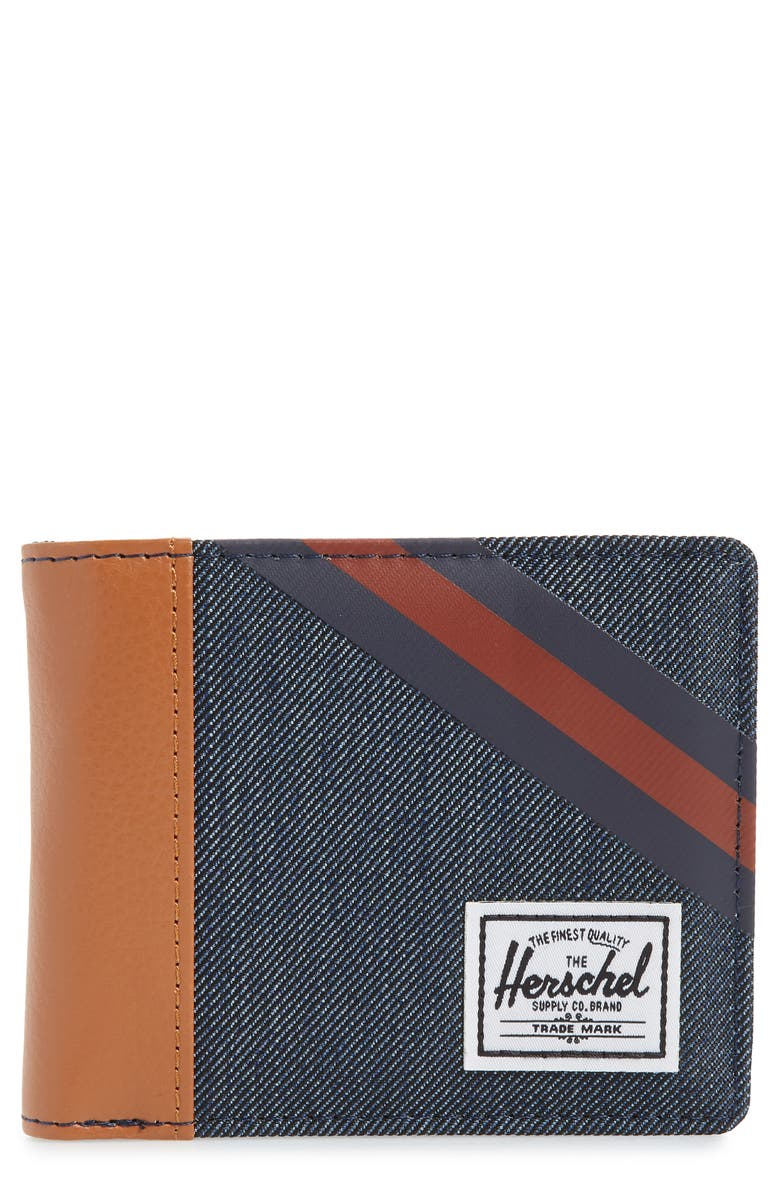 HERSCHEL SUPPLY CO. Roy RFID Wallet, Main, color, INDIGO DENIM/ PEACOAT/ PICANTE