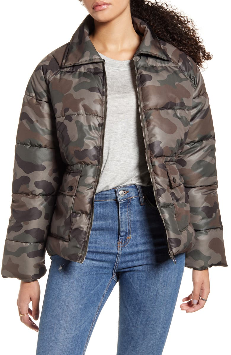 BP. Printed Puffer Jacket, Main, color, OLIVE ITALY CAMO
