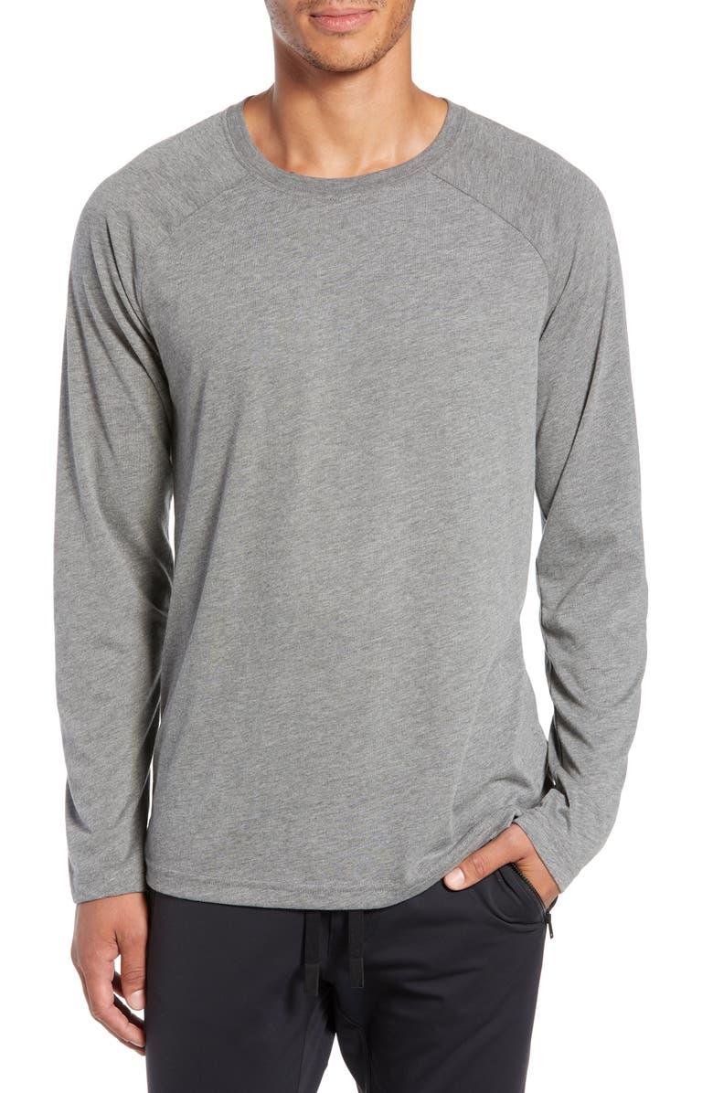 ALO Triumph Raglan Long Sleeve T-Shirt, Main, color, GREY TRIBLEND