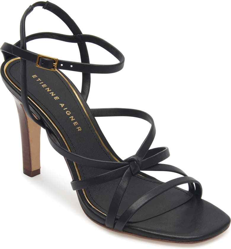 ETIENNE AIGNER Milan Strappy Sandal, Main, color, BLACK LEATHER