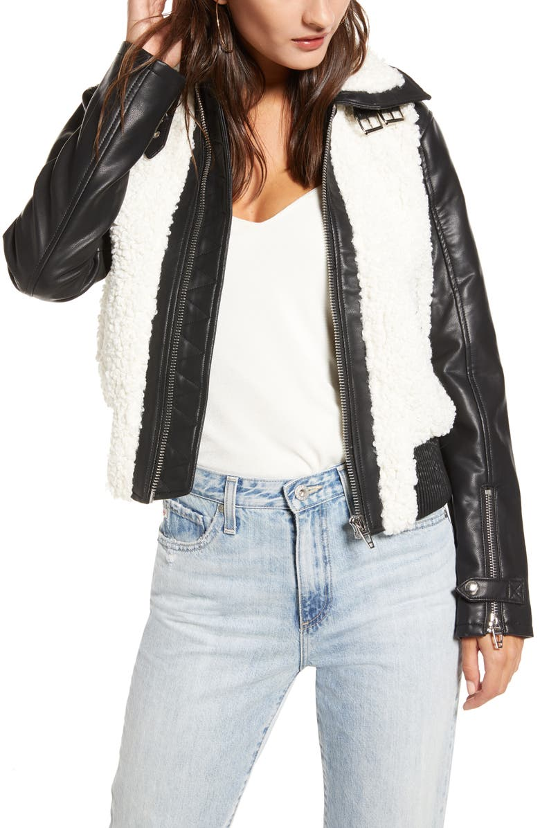 BLANKNYC Faux Leather & Fleece Bomber Jacket, Main, color, SKY HIGH