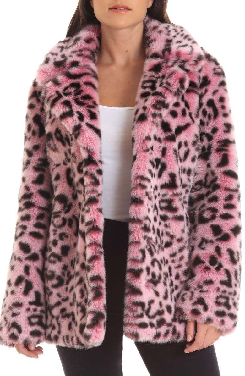 AVEC LES FILLES Animal Print Faux Fur Coat, Main, color, PINK LEOPARD