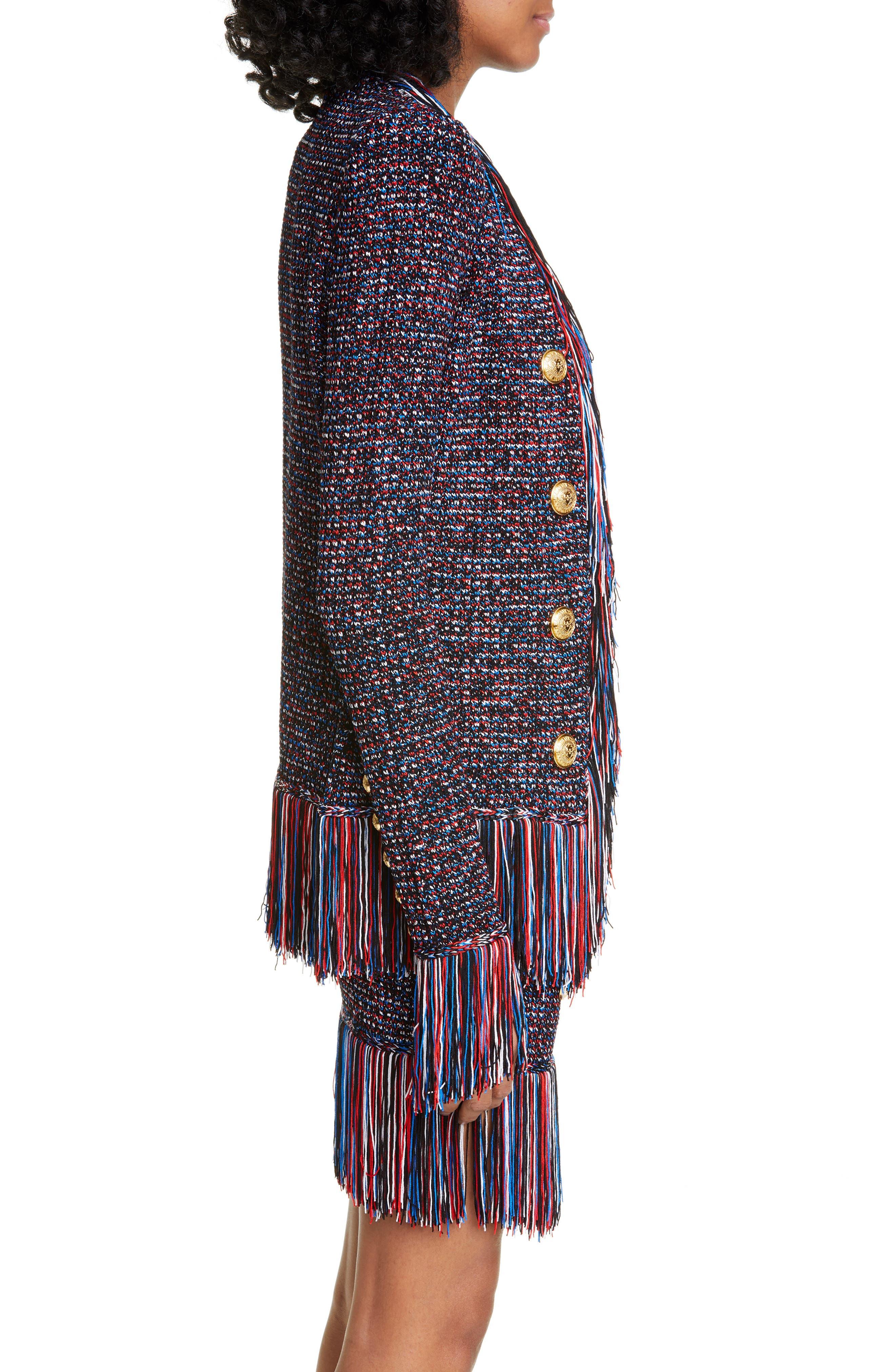 ,                             Fringe Trim Tweed Jacket,                             Alternate thumbnail 3, color,                             EBJ NOIR/ BLEU/ BLANC