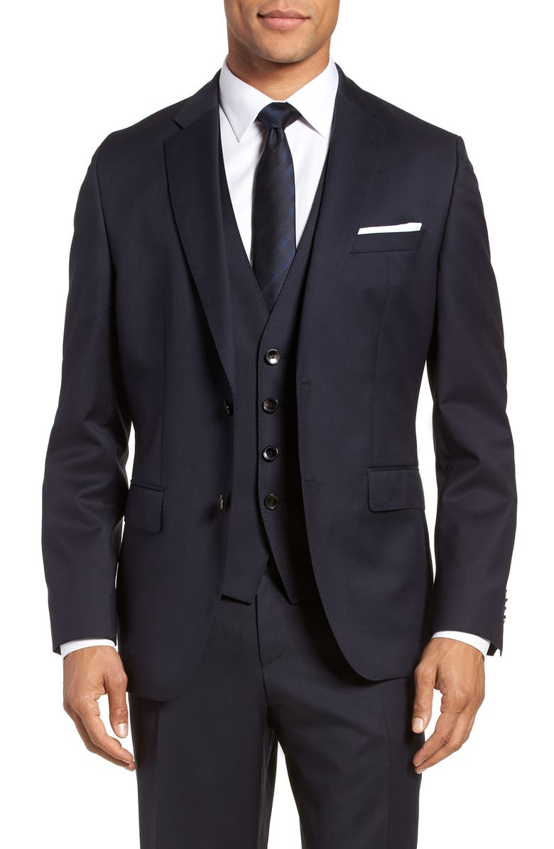 BOSS Johnstons CYL Classic Fit Solid Wool Sport Coat, Main, color, DARK BLUE