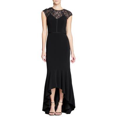 Halston Heritage Cap Sleeve High/low Mermaid Gown, Black