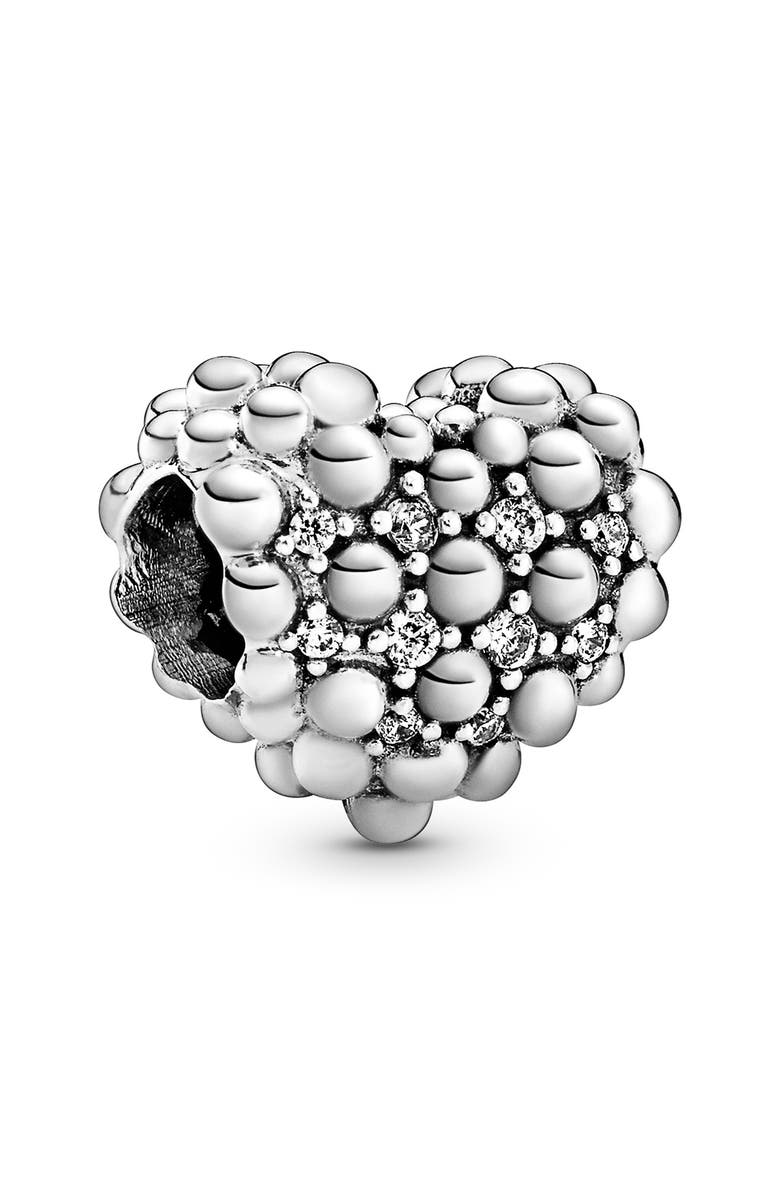 PANDORA Beaded Sparkling Heart Charm, Main, color, SILVER/ CLEAR CZ