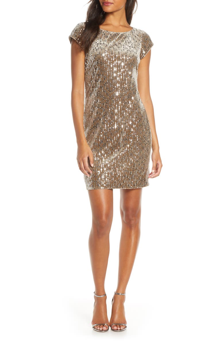 ELIZA J Sparkle Sequin Cocktail Minidress, Main, color, CHAMPAGNE