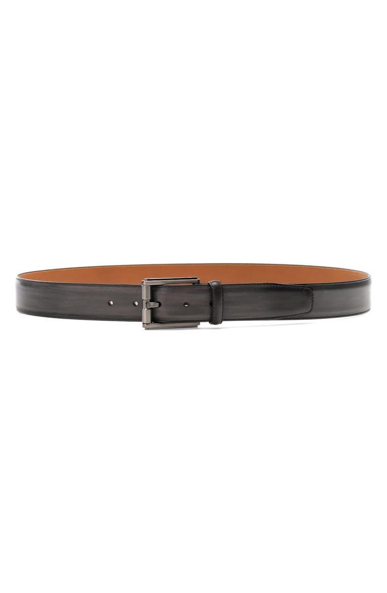 MAGNANNI Boltan Leather Belt, Main, color, GREY
