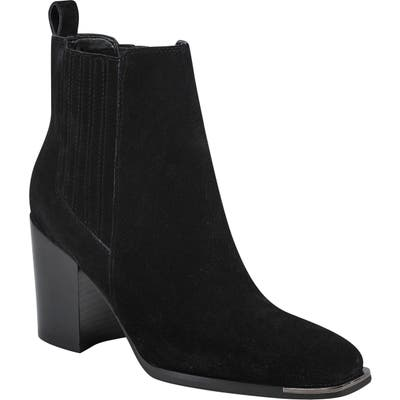 Marc Fisher Ltd Taline Croc-Embossed Square Toe Boot- Black