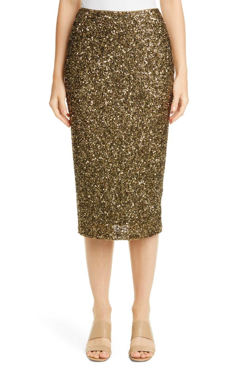LAFAYETTE 148 NEW YORK Casey Sequin Midi Skirt, Main, color, HERITAGE GOLD