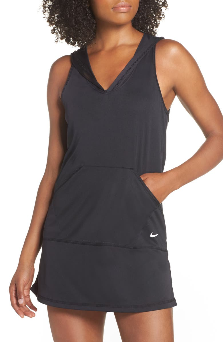 NIKE Hooded Cover-Up Dress, Main, color, 001