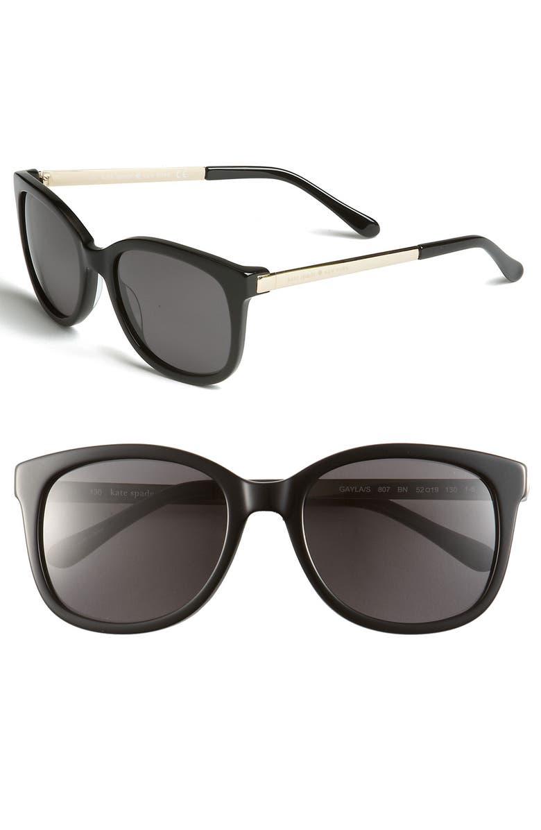 KATE SPADE NEW YORK 'gayla' 52mm sunglasses, Main, color, 001