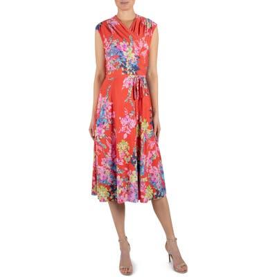 Julia Jordan Floral Wrap Front Sleeveless Jersey Dress, Orange