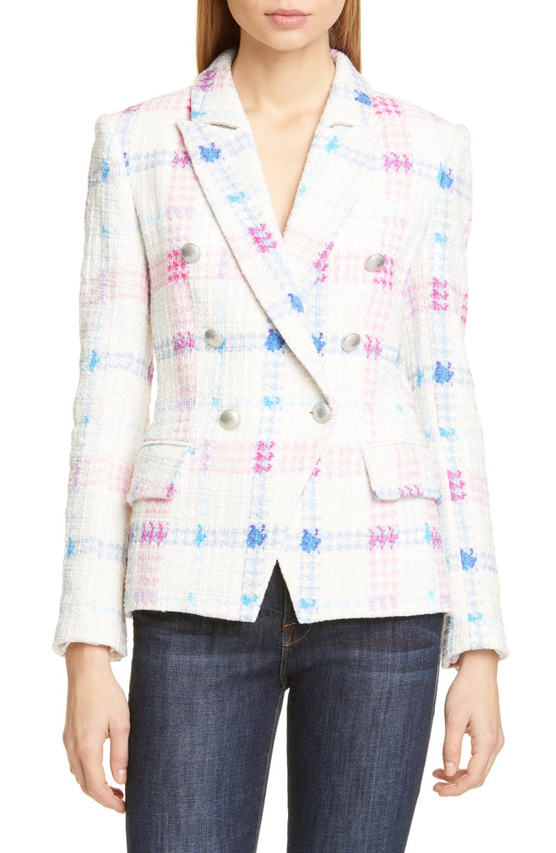 L'AGENCE Kenzie Double Breasted Tweed Blazer, Main, color, 600
