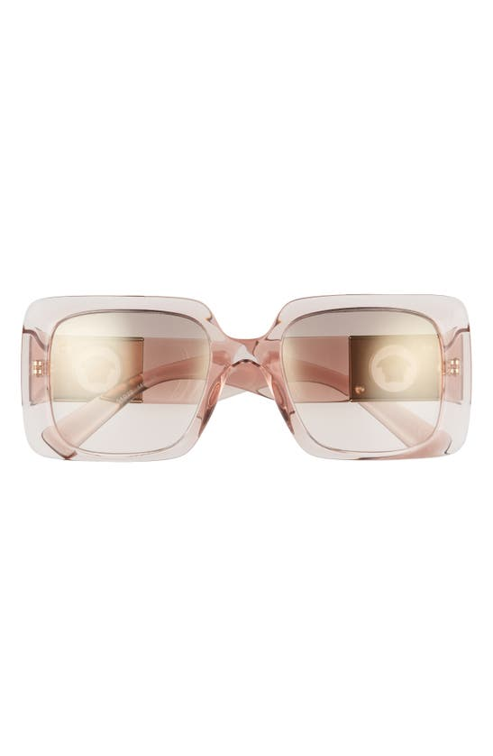 Versace 54mm Rectangle Sunglasses In Trans Pink/ Brown-gold Mirror