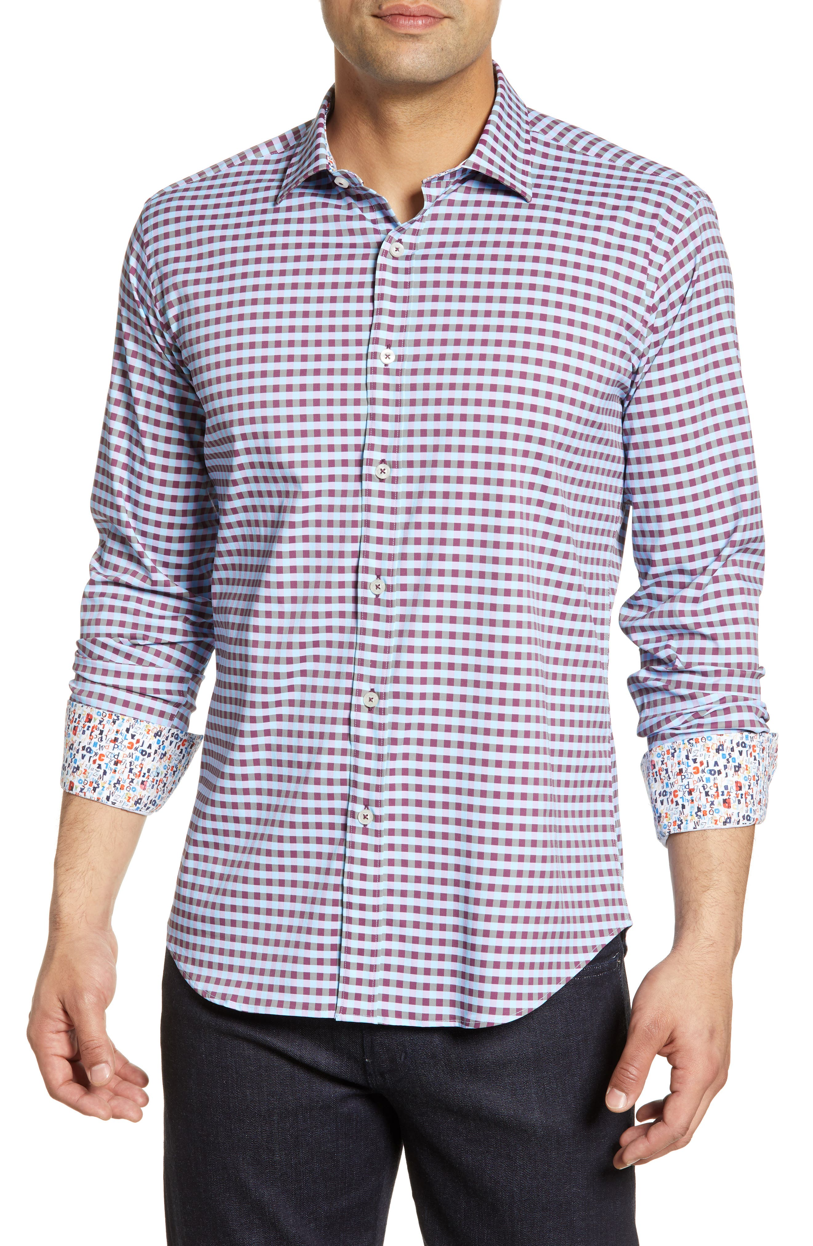 men's bugatchi shaped fit print performance shirt, size medium - purple