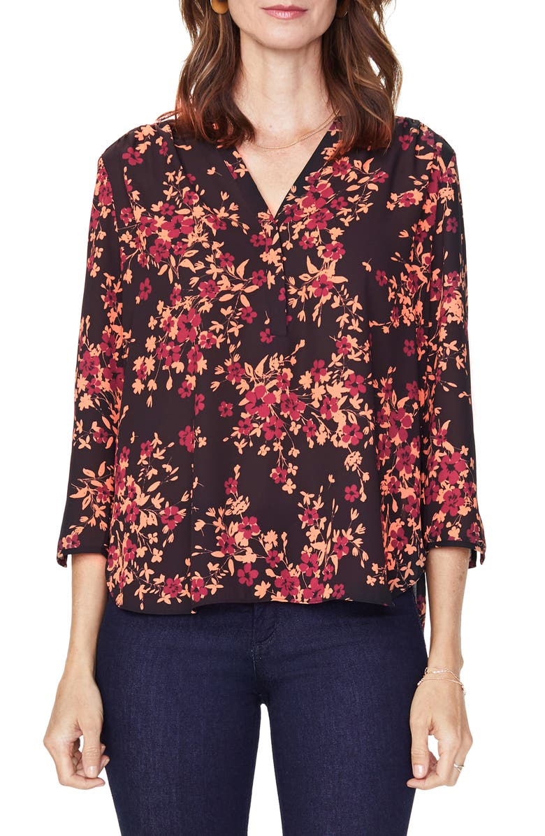 CURVES 360 BY NYDJ Perfect Blouse, Main, color, BAY CITY FLORAL