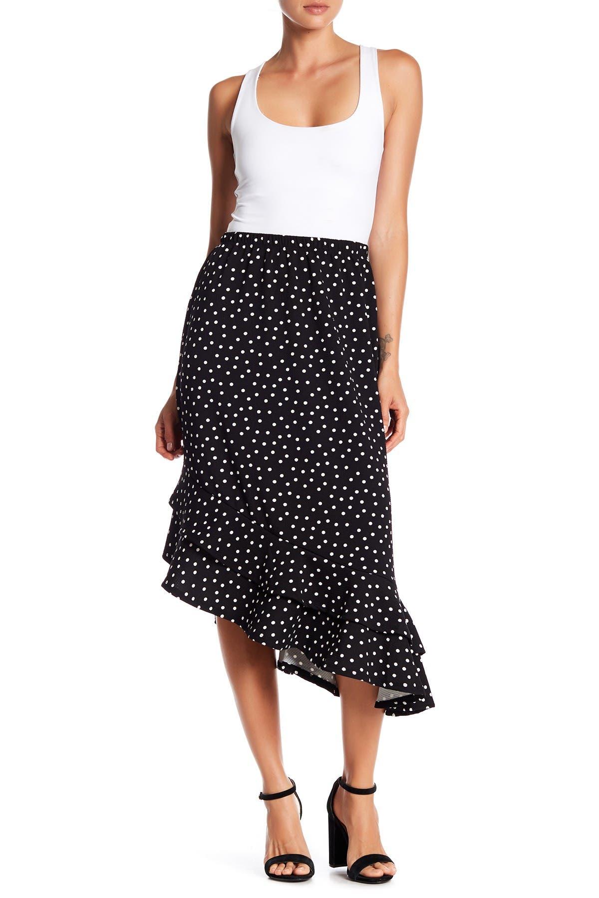 Image of Bobeau Asymmetrical Ruffle Hem Midi Skirt