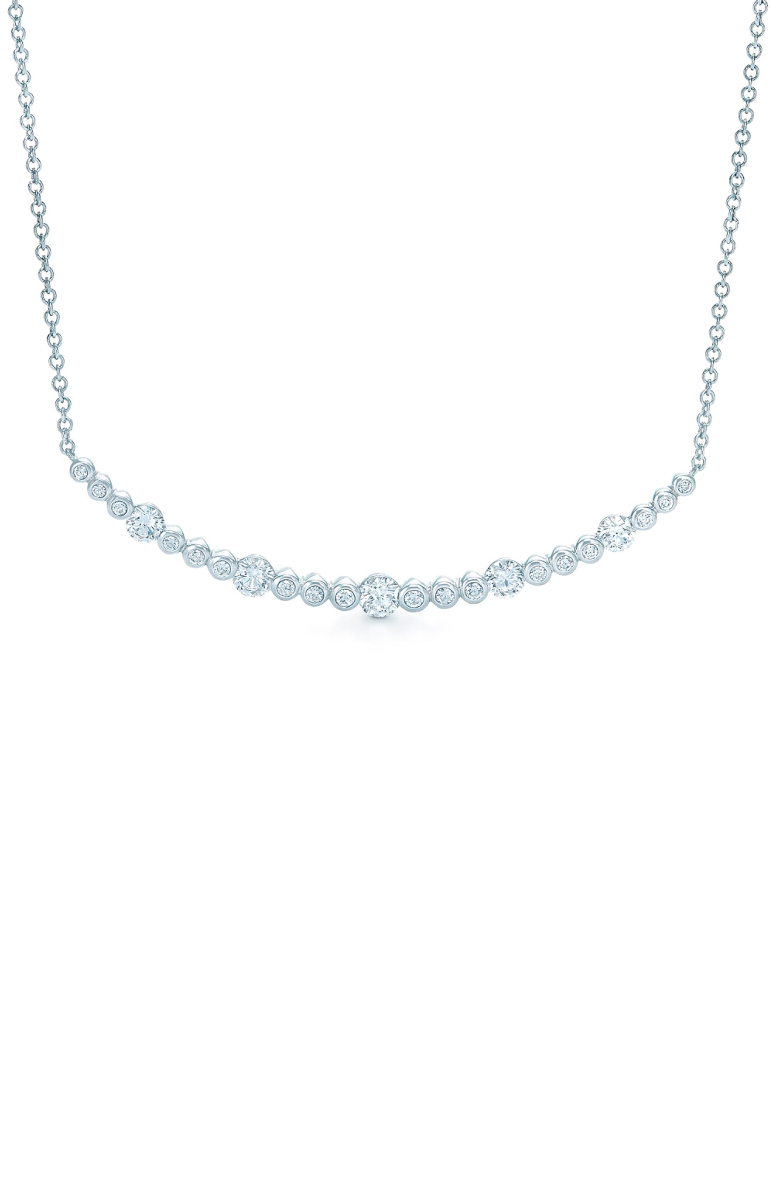 Starry Night Curved Bar Diamond Necklace, Main, color, WHITE GOLD