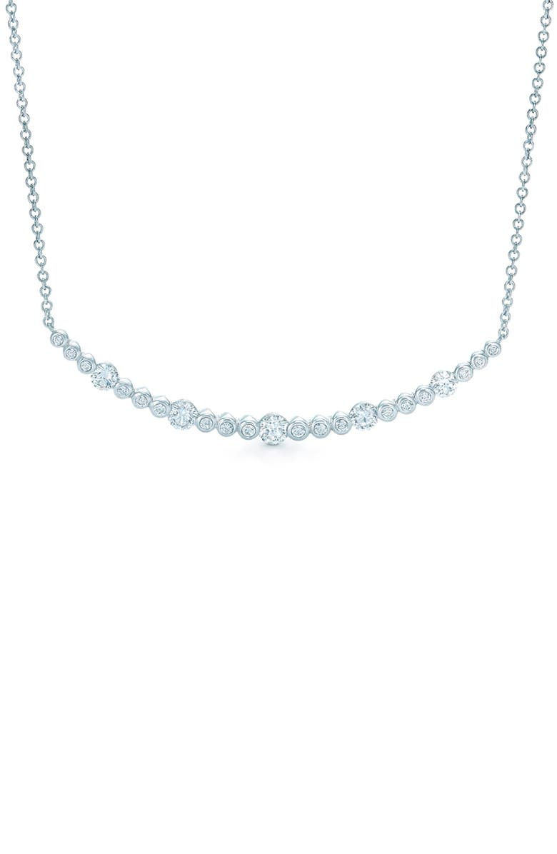 KWIAT Starry Night Curved Bar Diamond Necklace, Main, color, WHITE GOLD
