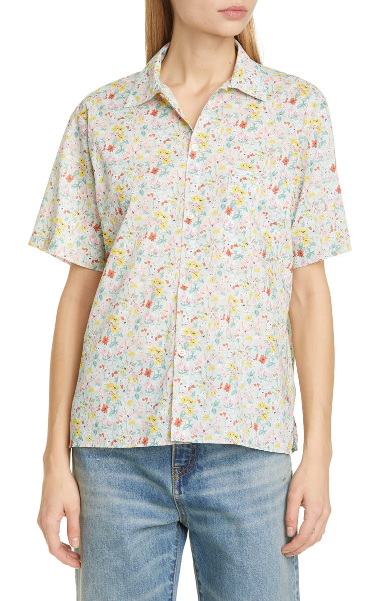 R13 Liberty Print Cotton Skater Shirt, Main, color, CALIFORNIA BLOOM