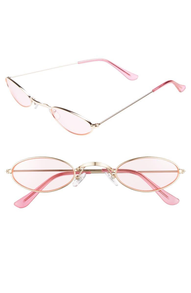 BP. 48mm Mini Wide Oval Metal Sunglasses, Main, color, 650