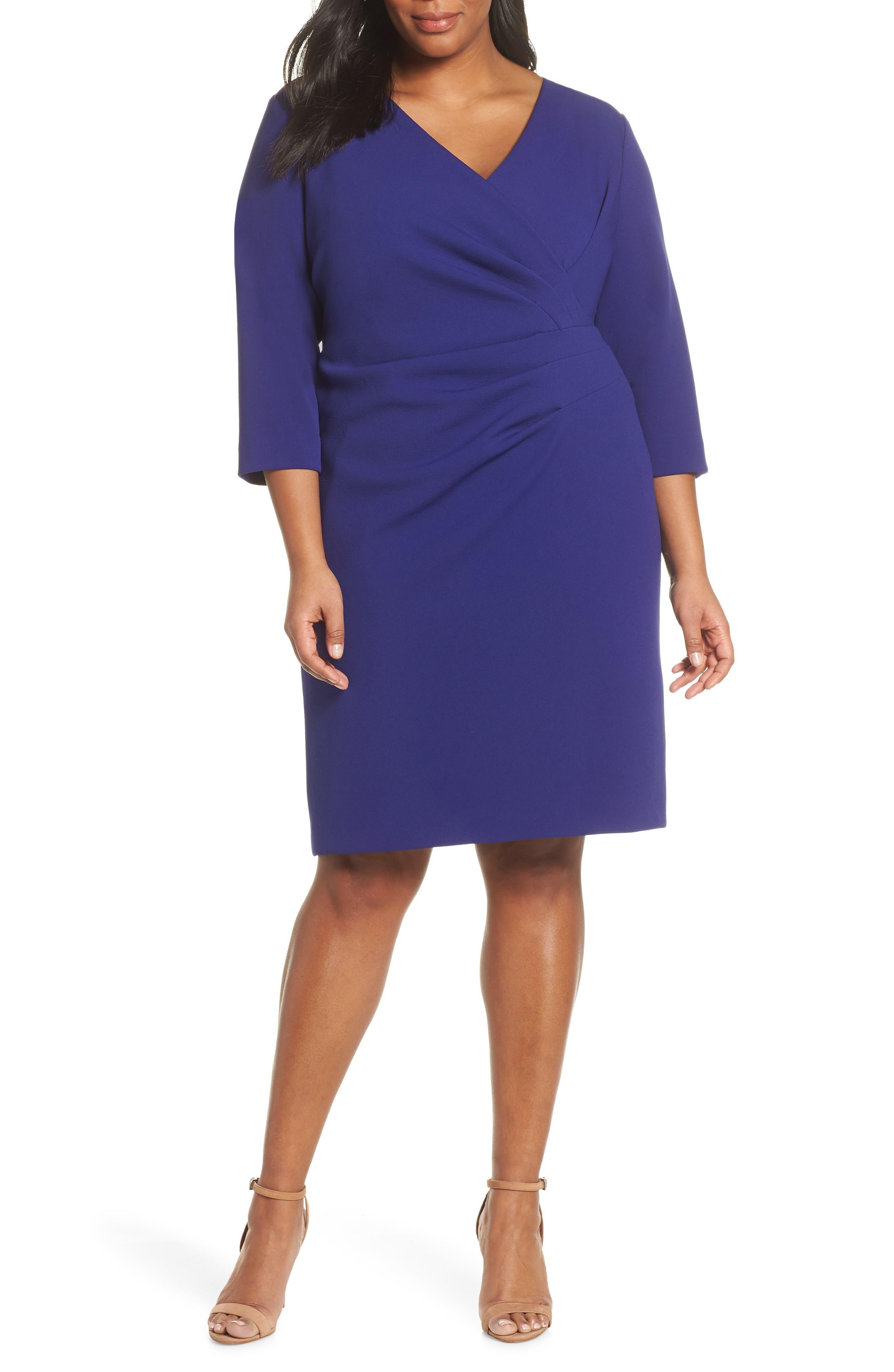 Plus Size Tahari Ruched Surplice Crepe Sheath Dress, Blue