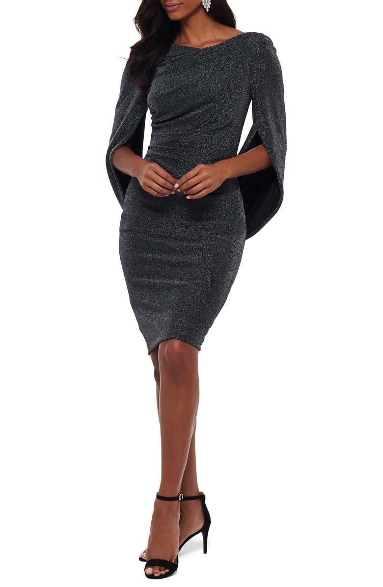 BETSY & ADAM Drape Back Cocktail Dress, Main, color, BLACK/ SILVER