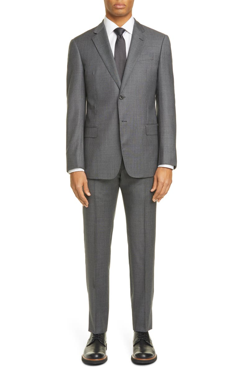 EMPORIO ARMANI G Line Trim Fit Solid Wool Suit, Main, color, MID GREY