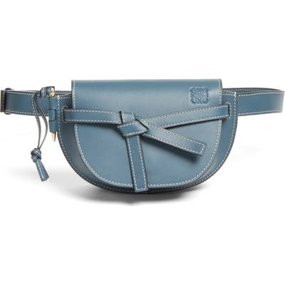 Loewe Mini Gate Calfskin Leather Belt Bag - Blue