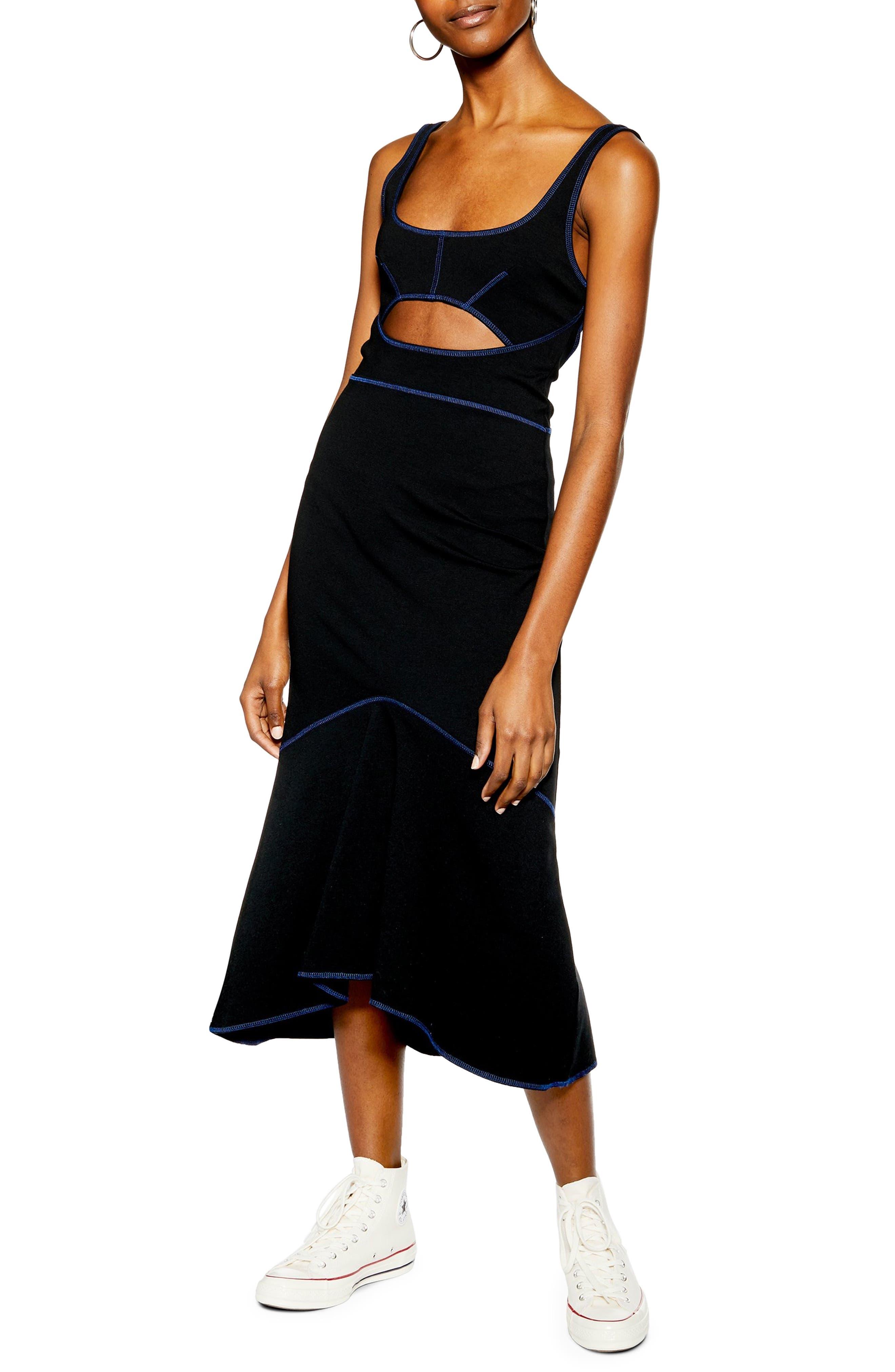 Topshop Racer Body-Con Midi Dress, US (fits like 0) - Black